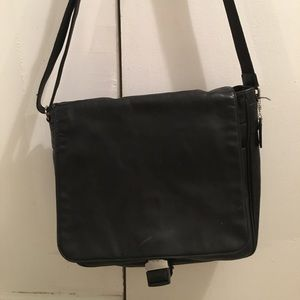 Black Leather Coach Messenger Bag